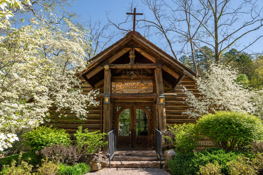 Front of Hope Wilderness Chapel at Dogwood Canyon