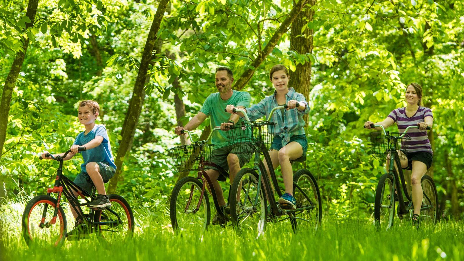 Family Bike Riding at Dogwood Canyon
