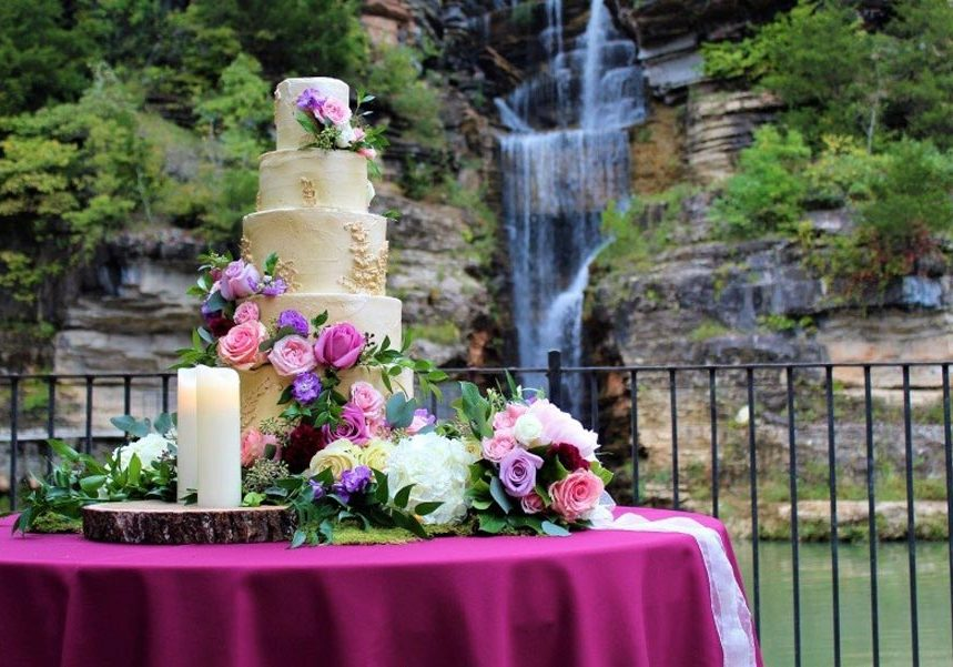 Wedding Cake in front of falls